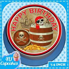 PRECUT HAPPY BIRTHDAY PIRATE'S GOLD - 7.5 INCH ROUND EDIBLE CAKE TOPPER CC7122
