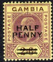 Gambia 1906 purple/brown 1/2d on 2/6d watermark crown CA mint SG69