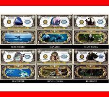 LOT X 6 BILLETS de COLLECTION / ANIMAUX ESPECES EN DANGER BALEINE ELEPHANT PANDA