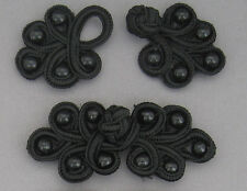 2 pairs  frog fasteners closure button Black #5