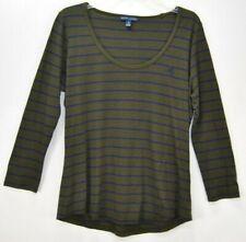 Lauren Ralph Lauren Shirt Top Women's Green Navy Striped L/S Cotton Blend Sz L