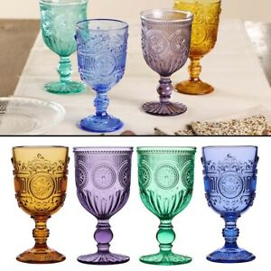 Wine Glasses Set Baroque Embossed Cut Glass Vintage Style Drink Goblets 300ml