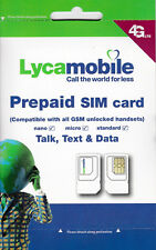 Lycamobile Triple Punch Standard Micro and Nano All in One SIM Card