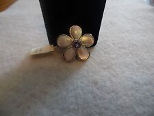 """Lia Sophia Silver Flower with Genuine MOP Pin """"Petalled"""" NWT"""