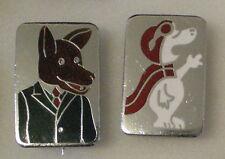 BASIL BRUSH & SNOOPY 2 x Enamel Pin Badges carricature badges