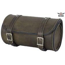 "Motorcycle Tool Bag Leather Dark Brown 10"" Universal Front Back Fork Storage"