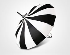 Black and White Pagoda Parasol Sun UV Rain Umbrella Bridal Wedding Party