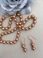 """18"""" Arabian Gold Shell Pearl Necklace & Earrings Rose Gold on Sterling Silver"""