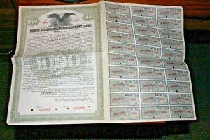 "#S98,Vintage Stock Railroad-Seldom Seen ""Specimen""Mobile & OH Equip Trust 1928"