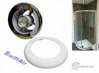 Chrome White Grill & Light + Transformer for Bathroom Shower Extractor Fan