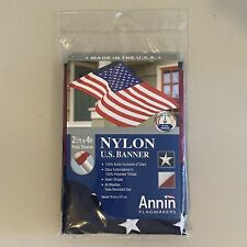 Annin Flagmakers American Us Flag Banner Pole Sleeve 2.5' x 4' Embroidered