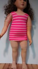 hot pink and white swim suit fits 23 inch My Twinn doll handmade and new