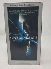Unbreakable Vhs Video Bonus Edition Bruce Willis Samuel L Jackson