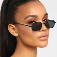 Designer Retro Sunglasses Small Rectangular Metal Frame Dark Lens Women Fashion