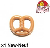 Lego - 1x Food Pretzel bretzel pain bread baguette medium dark flesh 10170 NEUF