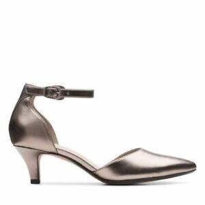 BNIB Clarks Ladies Linvale Edyth Pewter Metallic Heeled Shoes