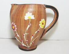 Vintage Italian Pottery Raised Relief Flower Pitcher