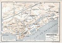 Suisse Neuchâtel 1907 pt plan ville orig. + guide (4 p.) Faubourg du Lac Halles