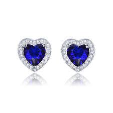 Engagement Women White Gold Filled Heart Tanzanite CZ Stud Earrings Jewellery