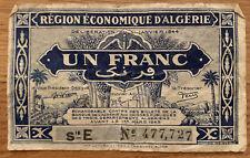 New ListingRare Vintage Algeria 1 Un Franc D'Algerie Banknote 1944 Wwii Era Currency Money