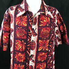 Ui-Maikai Hawaiian Shirt TIKI Button Front Red Floral Island Classic Vintage 70s