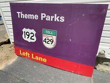 Rare Park Used Walt Disney World Theme Park Metal Highway Road Sign 6' X 4'