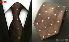 Brown and Blue Patterned Handmade 100% Silk Wedding Tie