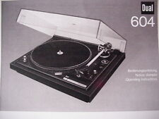 DUAL 604 TURNTABLE OPERATING INSTRUCTIONS MANUAL 15 Pages
