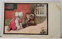 A/S Dorothy Dixon  Sun Bonnet Girl Peek-A-Boo with Bull Dog Postcard D1