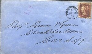 GB QV 1871 WELSH COVER PENNY RED 'BC' PL184 FROM PONTYPRIDD TO CARDIFF 08TH JUNE