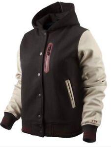 New Nike Sportswear Women's Destroyer Jacket Wool Leather NSW $360 L 382601-200