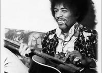 Jimi Hendrix Playing Acoustic Guitar Photo - 4x6