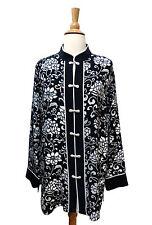 "Yi Lin Silk Mandarin Tunic L Large Black White Floral ""Court"" Style Artsy Blouse"