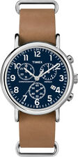 TW2P62300 Timex Weekender Unisex Mens Watch Blue Chronograph Tan Leather 40mm