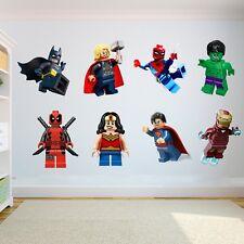Realistisch lego Superhelden Kinder Schlafzimmer Vinyl Wandkunst Sticker Frau