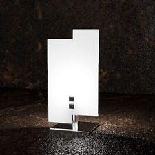 Lumetto moderno in vetro bianco e cromato a 1 luce tpl 1121/P
