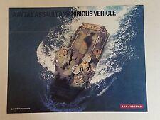 AAV7A1 Assault Amphibious Vehicle Data Sheet / BAE Systems NEW Military Defense