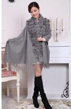 GRAY Fashion Brand Scarves Lady's 100% Wool Rabbit Ball Top Shawl Warm Scarf