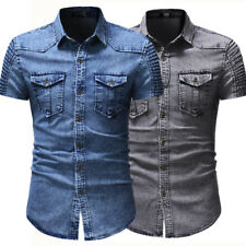 New Mens Shirts Short Sleeve Slim Fit Two Pockets Washed Denim Casual TUD171