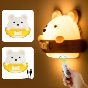 LED Night Light Wall Lamp Kids Baby Bedroom Bedside Table Desk Lamp Dimmable UK