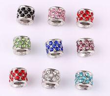 10pcs mix LAMPWORK CZ big hole spacer beads fit Charm European Bracelet #A585