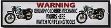 Warn Grumpy Old Motorrad mechanisch Works Here Uhr für Flying Werkzeuge Metall