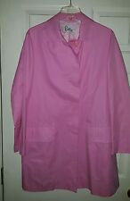 LILLY PULITZER Size LARGE Lined Trench long Coat Jacket Pink dry cleaned NICE!