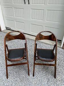 Vintage  B J Harrison Co. Wood Folding Chairs ART DECO PERIOD Company Pre Civil