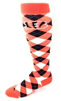 Cincinnati Bengals Football  Orange Black and White Plaid Thin Long Crew Socks