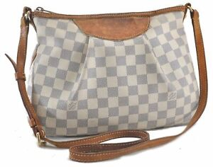 Authentic Louis Vuitton Damier Azur Siracusa PM Shoulder Bag N41113 LV B9721