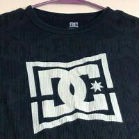 DC Men's Long Sleeve Thermal T Shirt Medium M Crewneck Logo Spellout Multicolor