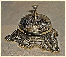 ORNATE FRONT DESK COUNTER BELL ~ solid antiqued brass ~ Victorian floral design