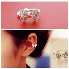 1pc Sell Crystal Bone Ear Stud Bowknot Rhinestone Clip Earrings