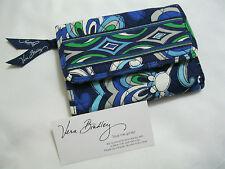 Vera Bradley MEDITERRANEAN BLUE Euro WALLET Tri-Fold for PURSE BACKPACK Bag NWOT
